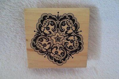 stamp flourish flower wood mounted large rubber
