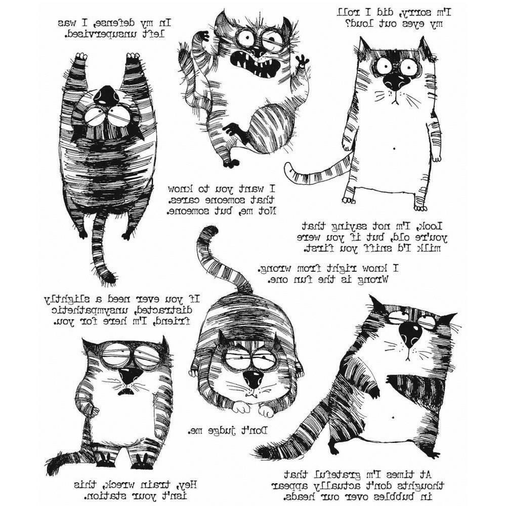 stampers anonymous snarky cat rubber cling stamp