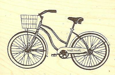 Strand Cruser Bicycle Bike Wood Mounted Rubber Stamp JUDIKIN