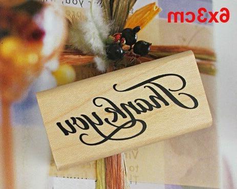 Thank <font><b>Stamps</b></font> DIY Scrapbooking Thank You Wooden <font><b>Stamp</b></font> Craft Home Decor