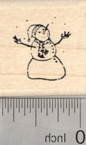 tiny snowman rubber stamp