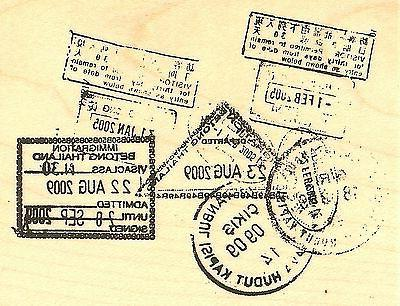 Travel Passport Collage Wood Mounted Rubber Stamp Impression