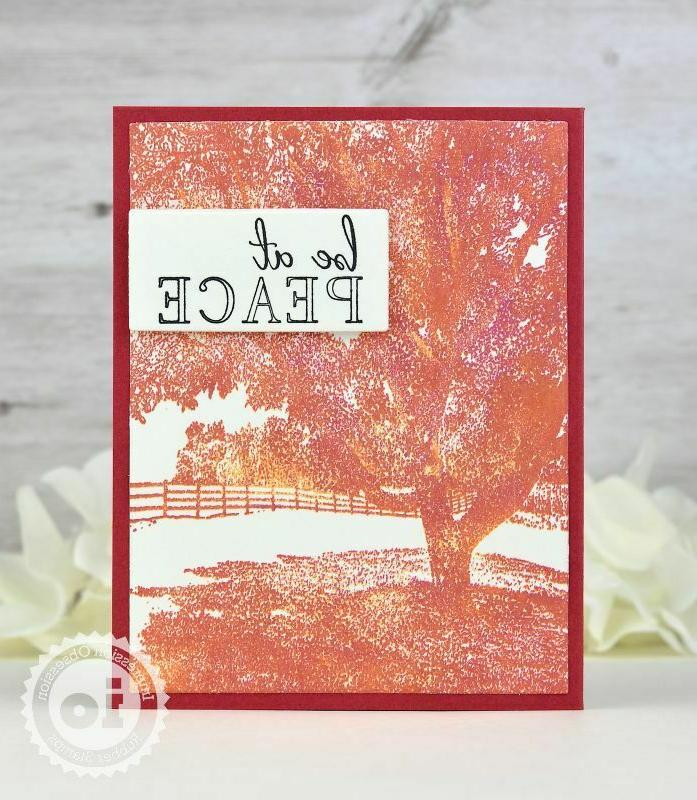 TREE Background Cling Rubber Stamp Impression