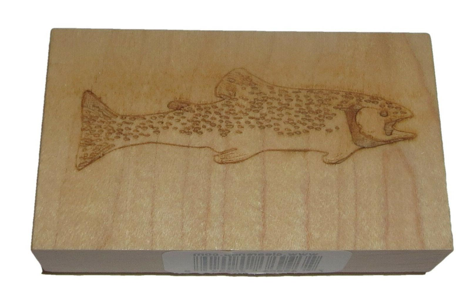 Trout Fish Rubber Stamp New Wood Mounted 3 Inches Long Fishi