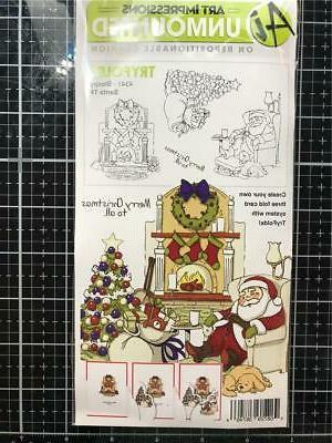 Art Impressions Try'folds Cling Rubber Stamp-Sleepy Santa
