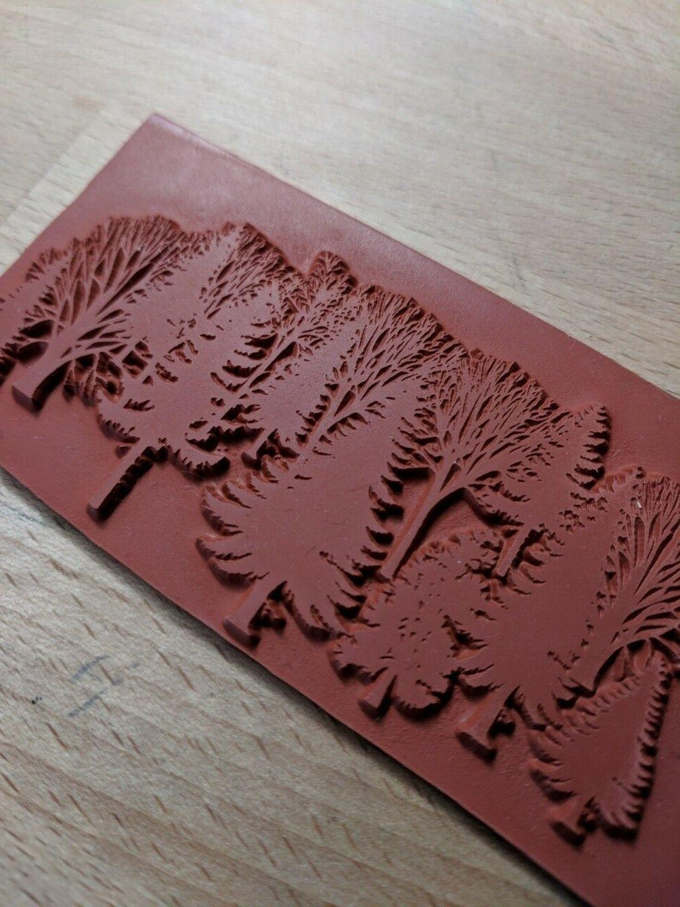 Unmounted Trees Rubber Stamp branch scene new