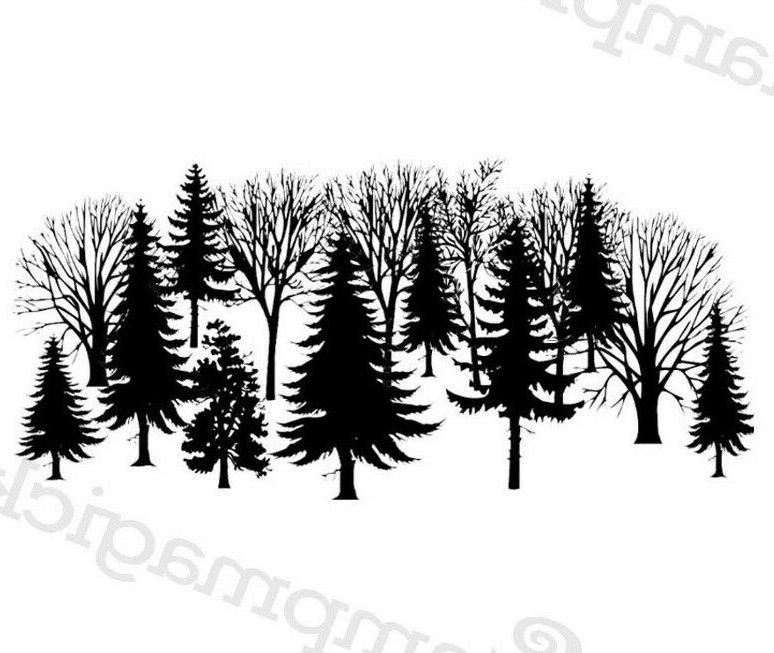 unmounted forest trees rubber stamp background fall