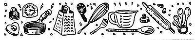 Unmounted Rubber Stamp, Kitchen, Utensils, Cooks Border, Coo