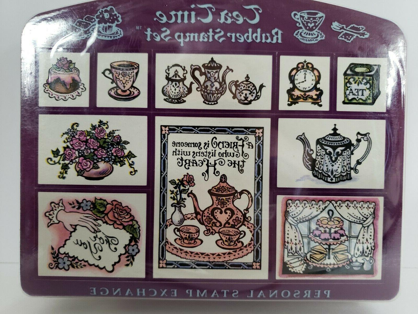 Set Tea Time Stamps Scrapbooking Crafts New