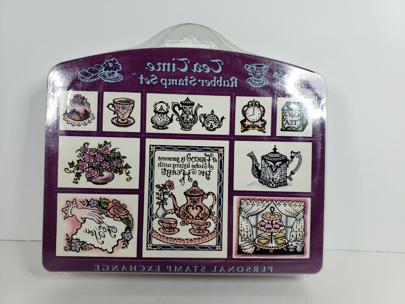 Vintage 1993 Set Tea 10 Stamps Scrapbooking Art New