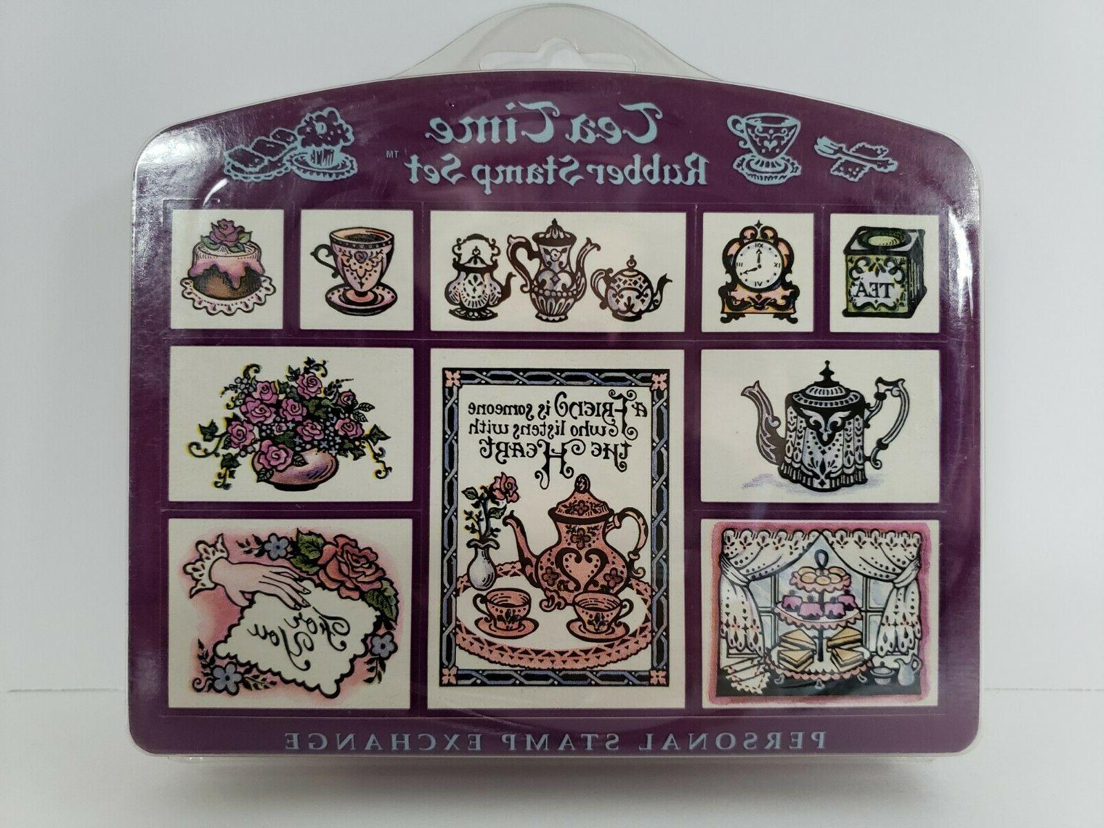 Set Tea Stamps Scrapbooking New