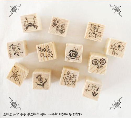 Shopline 12 Pieces Vintage Stamps, Wooden Rubber with Flower Letters Diary Scrapbooking
