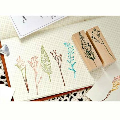 Vintage Plant Stamp Wooden Rubber Stamps Scrapbooking Diary DIY Stamp