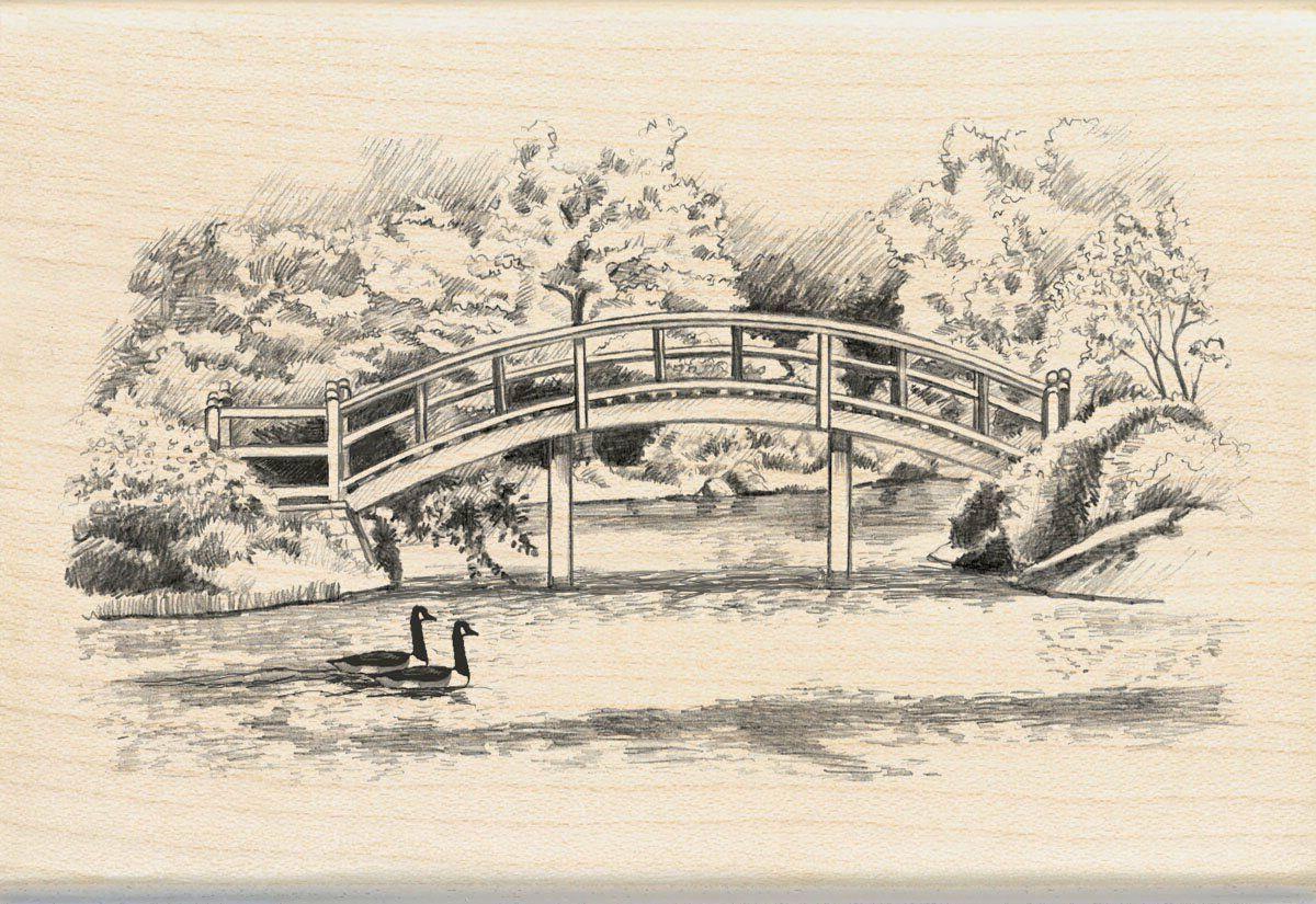 walking bridge wood stamp
