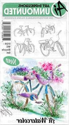 Art Impressions Watercolor Cling Rubber Stamps Bicycle 75061