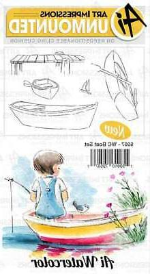 Art Impressions Watercolor Cling Rubber Stamps-Boat