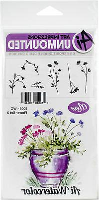 Art Impressions Watercolor Cling Rubber Stamps -Flower Set 3