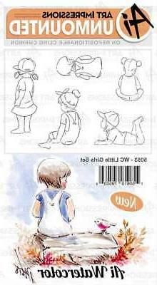 Art Impressions Watercolor Cling Rubber Stamps-Little Girls