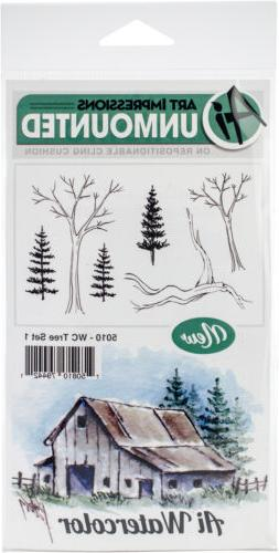 Art Impressions Watercolor Cling Rubber Stamps -Tree Set 1