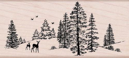 winter scene woodblock