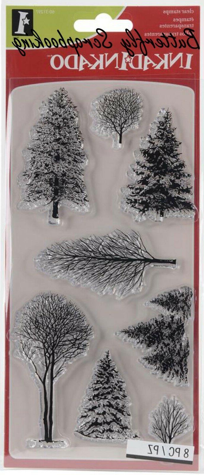 WINTER WONDERLAND TREES Clear Unmounted Rubber 8 INKADINKADO 60-31297