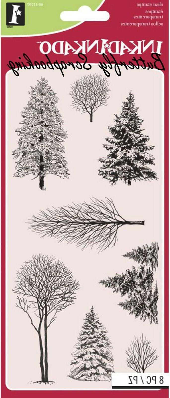 WINTER WONDERLAND TREES Clear Unmounted Rubber 8 Stamps INKA