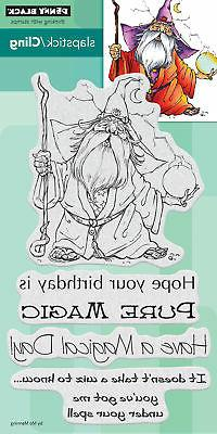 Wizard Magic Wiz Penny Black Cling Rubber Stamp Set 40-604 N