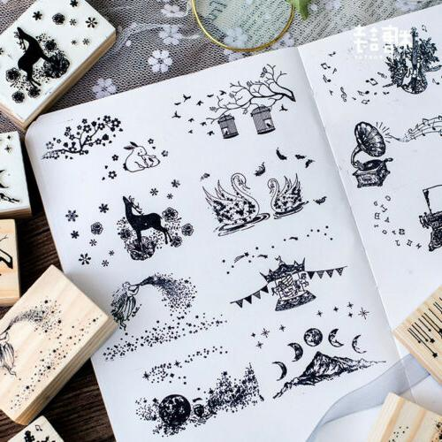 Wood Stamp DIY Craft Wooden Rubber Stamp Card Making Scrapbo