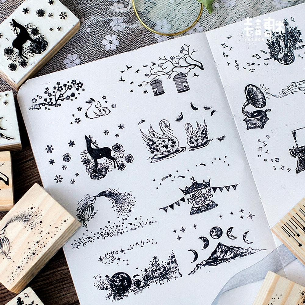 Wood Stamp Wooden Rubber Stationery Scrapbooking Stamp