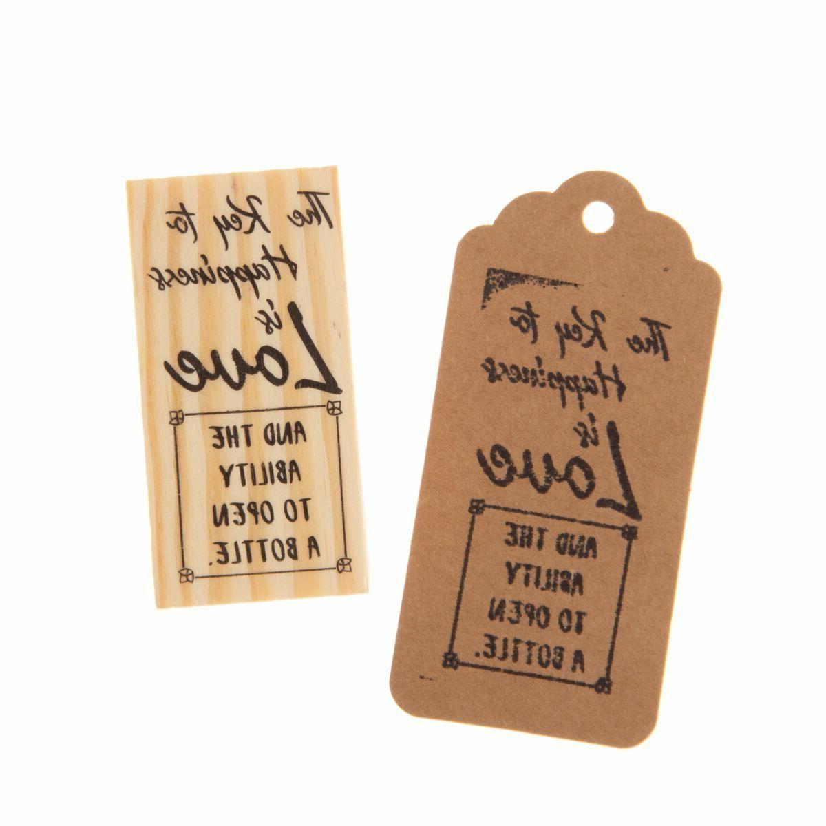 wooden rubber stamp for tags key bottle