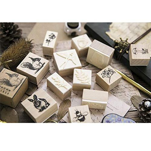 12pcs Wooden Animals and Patterns Stamps Set Craft Card Scrapbooking