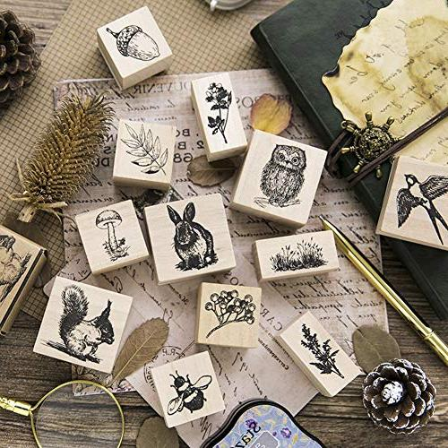 12pcs Wooden Rubber Stamps Stamps Craft Card Scrapbooking
