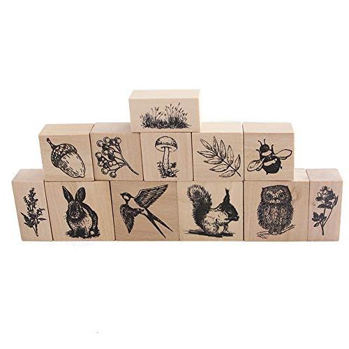 12pcs Animals Plants Patterns Stamps Craft Supplies