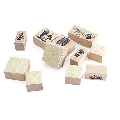 12pcs Wooden Rubber Animals and Stamps for Craft Card