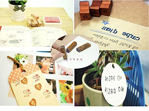 Wooden Rubber Number Letter, Dedoot Stamps Wooden Letter Number and for Card Teaching