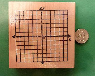 x y axis math rubber stamp wood