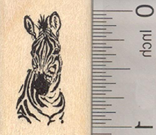 zebra portrait rubber stamp