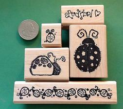 Ladybug Lover's Rubber Stamp Set of 5, wood mounted