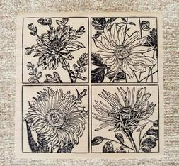 Large MAGENTA FLOWERS COLLAGE SQUARES Rubber Stamp Wood Moun