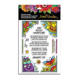 Laurel Burch Birthday CLEAR Unmounted Rubber Stamp Set STAMP
