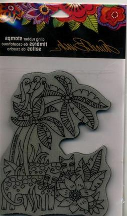 "Stampendous  Laurel Burch Cling Stamp 7.75""X4.5""-Leopard Jun"