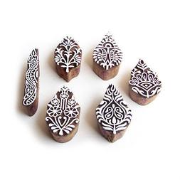 Leaf and Border Traditional Pattern Wood Block Print Stamps