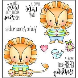 LION No Lion Set CLEAR POLYMER Cling Rubber Stamp Set Darcie