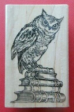 Literary Owl Rubber Stamp by Stampendous M291 Books