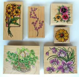 Lot of 6 Rubber Stamps Flowers Floral Theme Wood Mount Penny