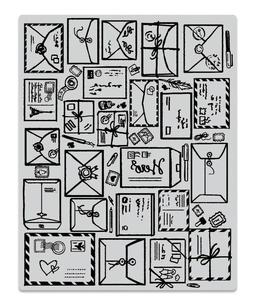 "Hero Arts ""MAIL JUMBLE"" Background Cling Basic Grey Rubber S"
