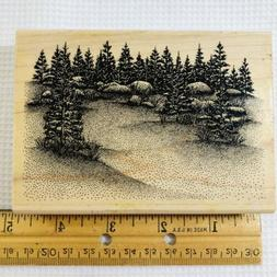 Stampscapes Meadow Large Wood Rubber Stamp 1993 057G Nature