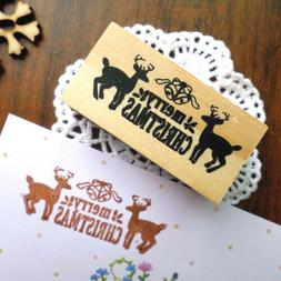 merry christmas deers wooden stamp diy elk gift wood rubber