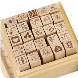 Yansanido 25pcs Mini Cute DIY Diary Wooden Rubber Stamp Set