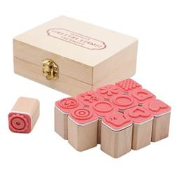 JETEHO Set of 12 Mini Cute Wooden Rubber Stamps, DIY Diary S